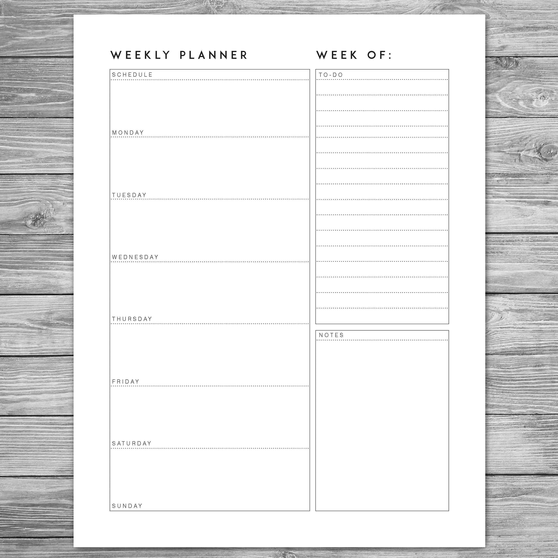 printable minimalist weekly planner  weekly schedule