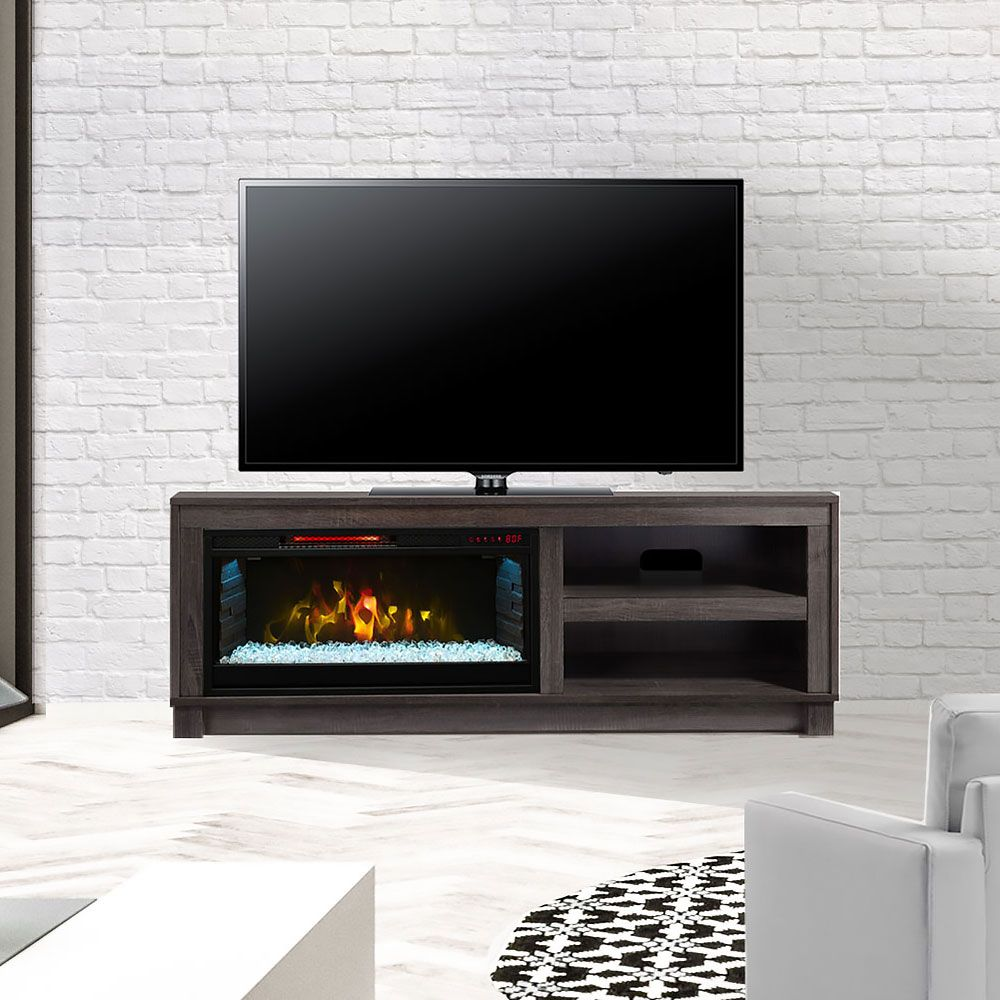 Electric Fireplace Tv Stand In Grey Cs 28mm1030 Gry # Meuble Tele Foyer Electrique