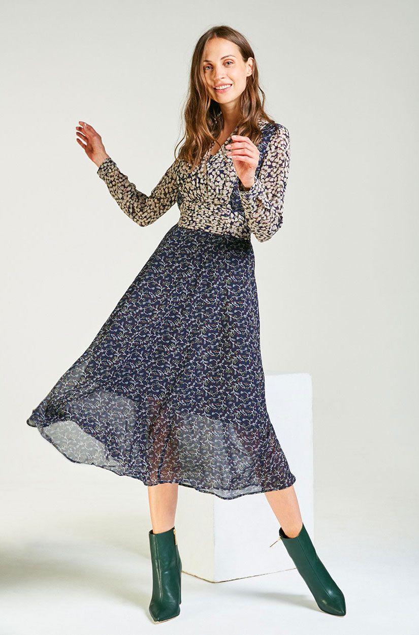 Langes Chiffon-Kleid mit Arm in Blau  Modestil, Chiffon kleid