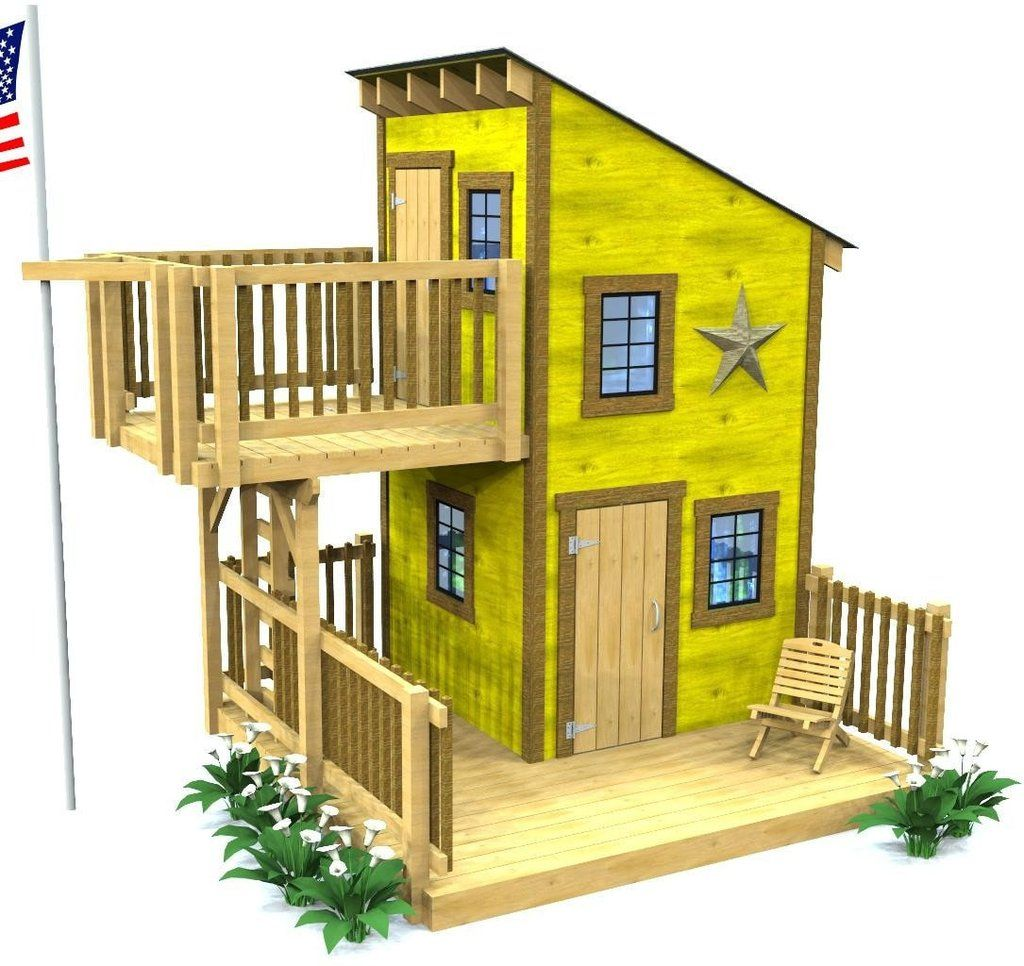 2 level shed roof playhouse plan with overhanging porch - Treehouse Plans 12x8