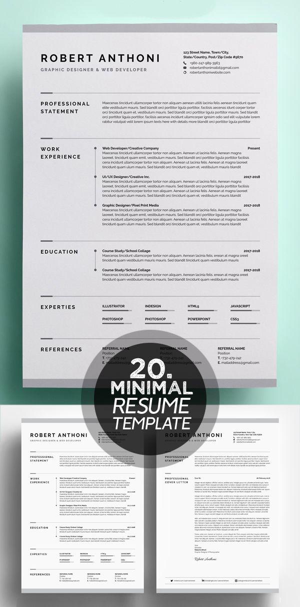 25 Best Minimalism Resume Templates 2018 Resume Design Graphic