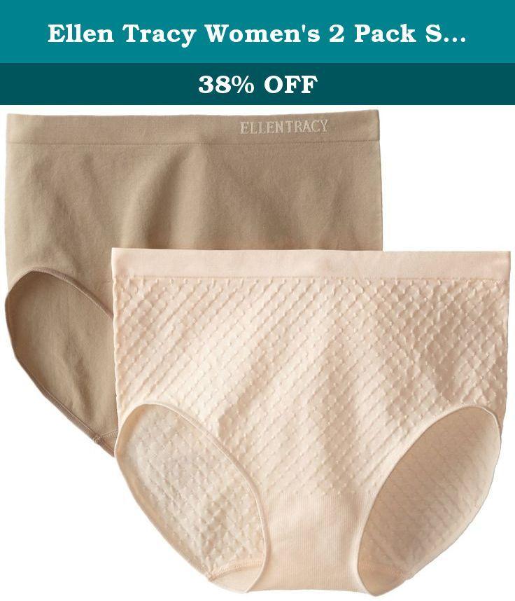 5386b29f67b1 Ellen Tracy Women's 2 Pack Seamless Dot Jacquard Full Brief Panty, Peach  Parfait/Latte