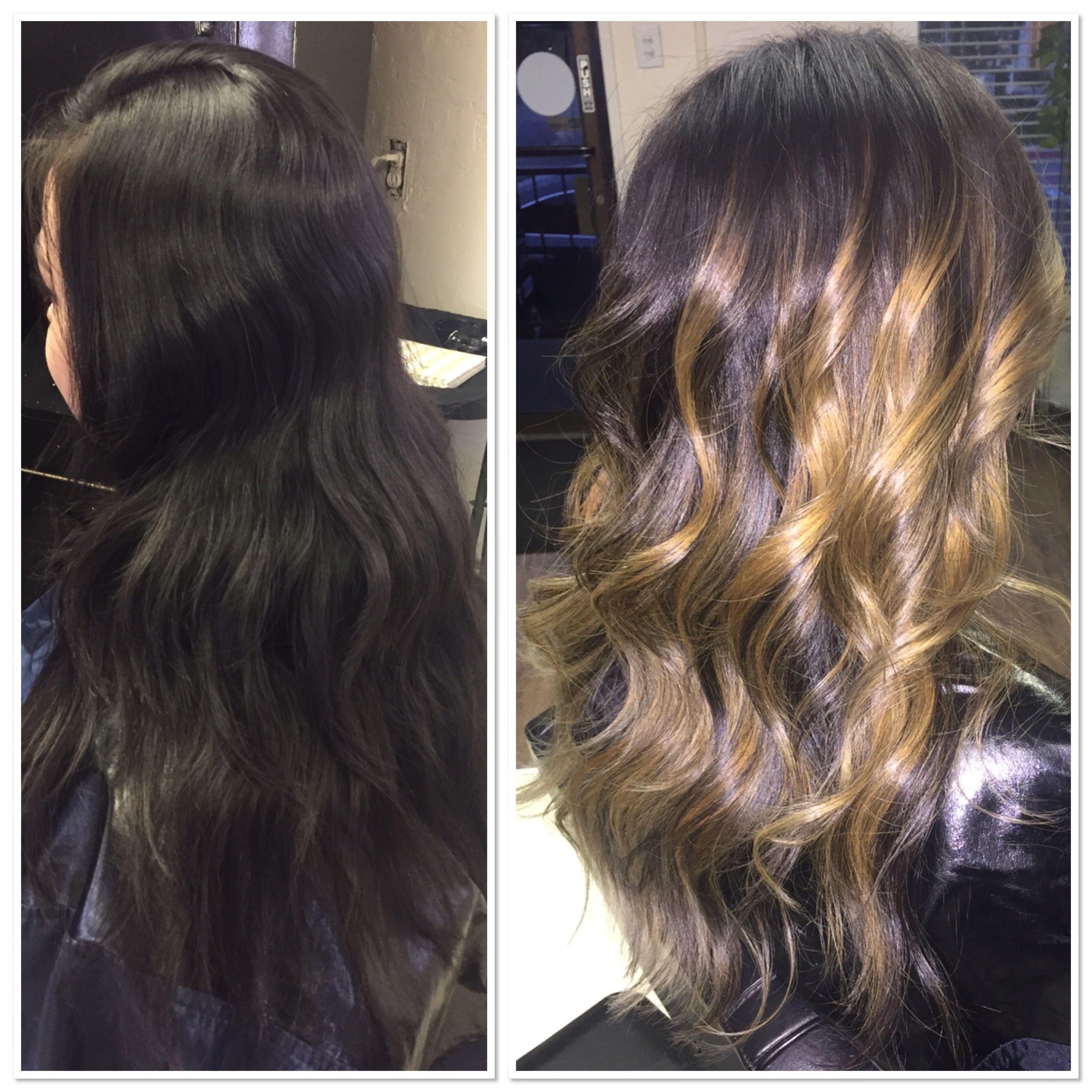 Before & After Balayage Lightening dark hair Lightening