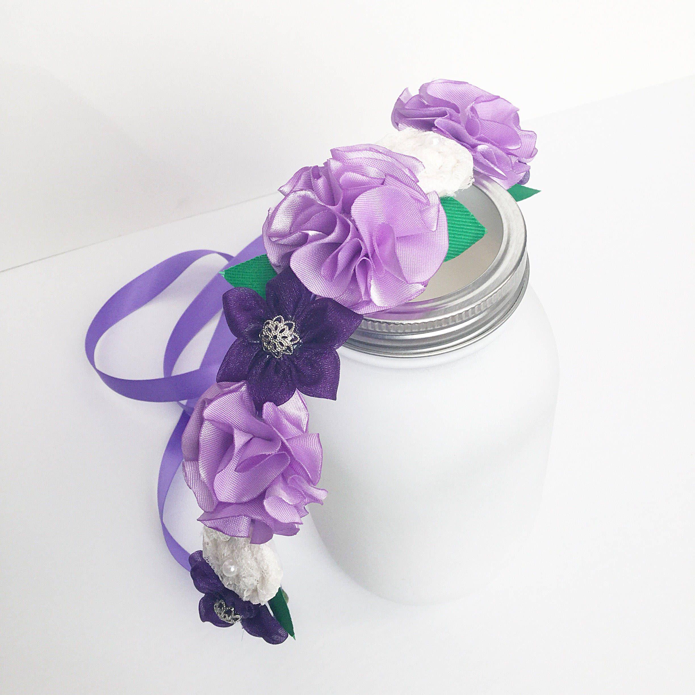 Purple Flower Crown Head Wreath Flower Tiara Flower Crown Flower