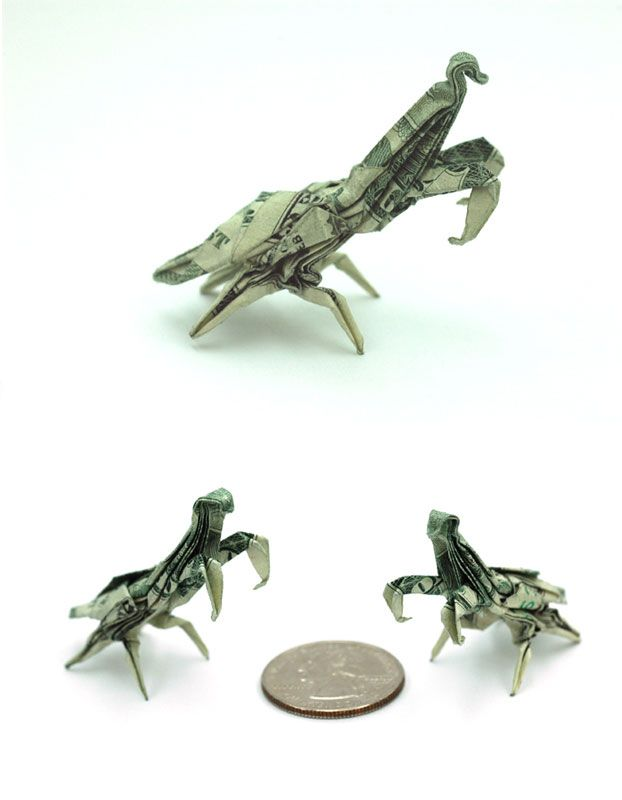 Praying Mantis Made From Dollar Bill Origami By Won Park Amazing