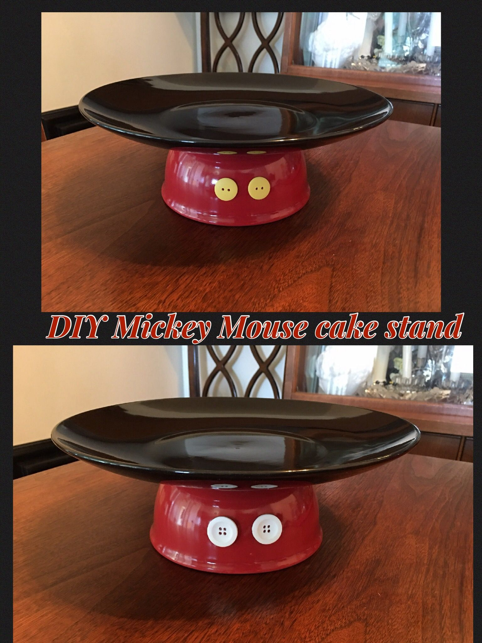 Mickey Mouse cake stand. Plate and bowl bought at The Dollar store. Yellow and white buttons( I put both colors on front and back) easy to make ... & Mickey Mouse cake stand. Plate and bowl bought at The Dollar store ...