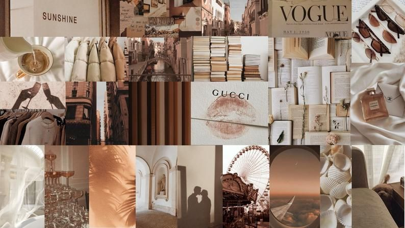 250 pic neutrals aesthetic wall collage