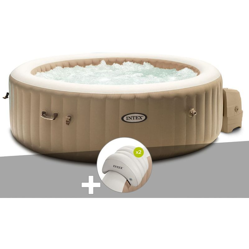 Kit Spa Gonflable Intex Purespa Sahara Rond Bulles 6 Places 2 Appuie Tetes En 2020 Spa Gonflable Spa Gonflable Intex Gonflable