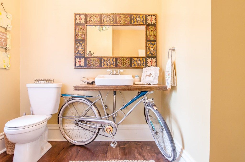 Upcycled Bike Parts Turned Into Stylish Home Goods Bicycle Decor Bicycle Sink Unique Bathroom
