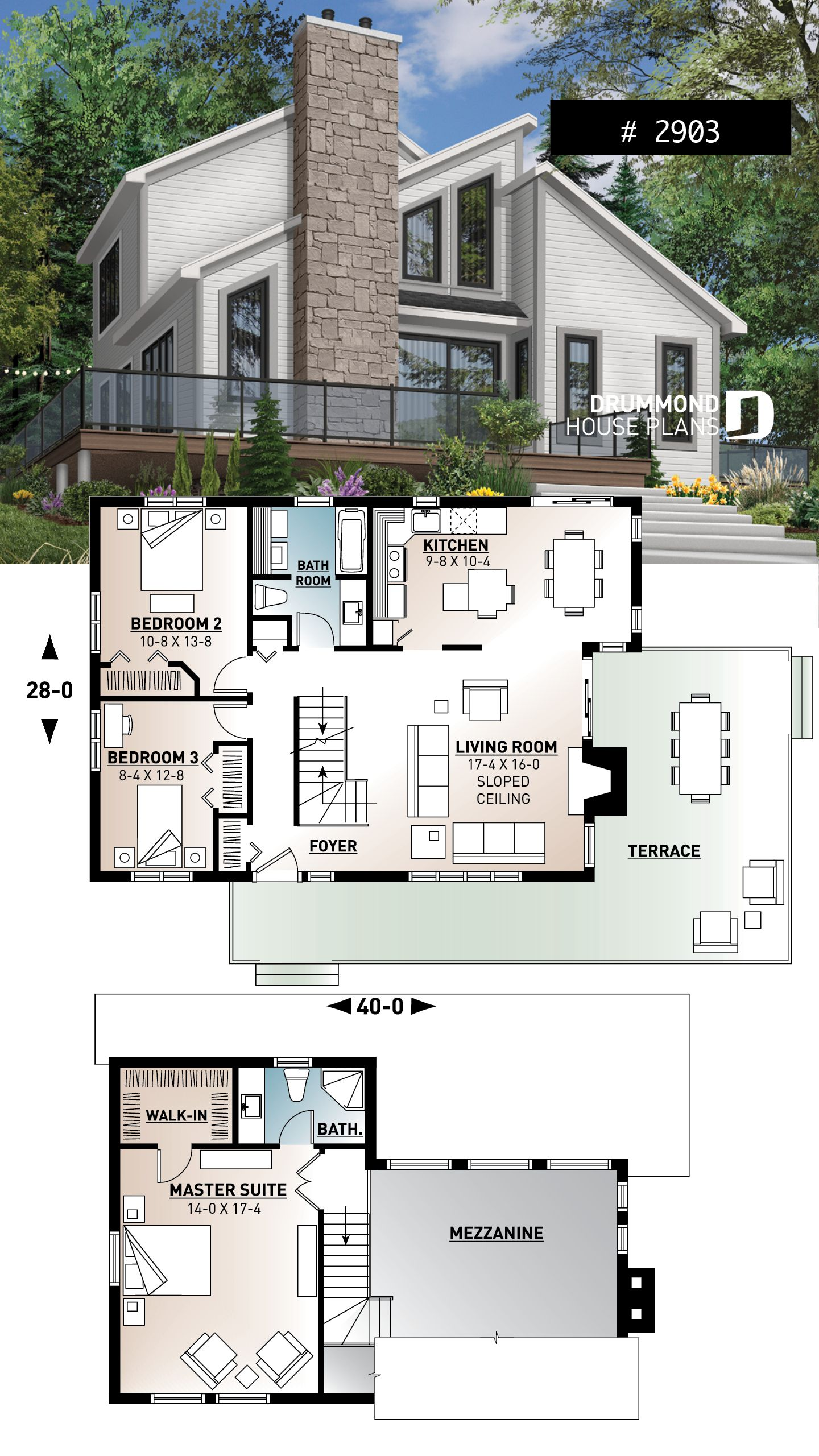 Modern Panoramic Chalet House Plan With Private Second Floor