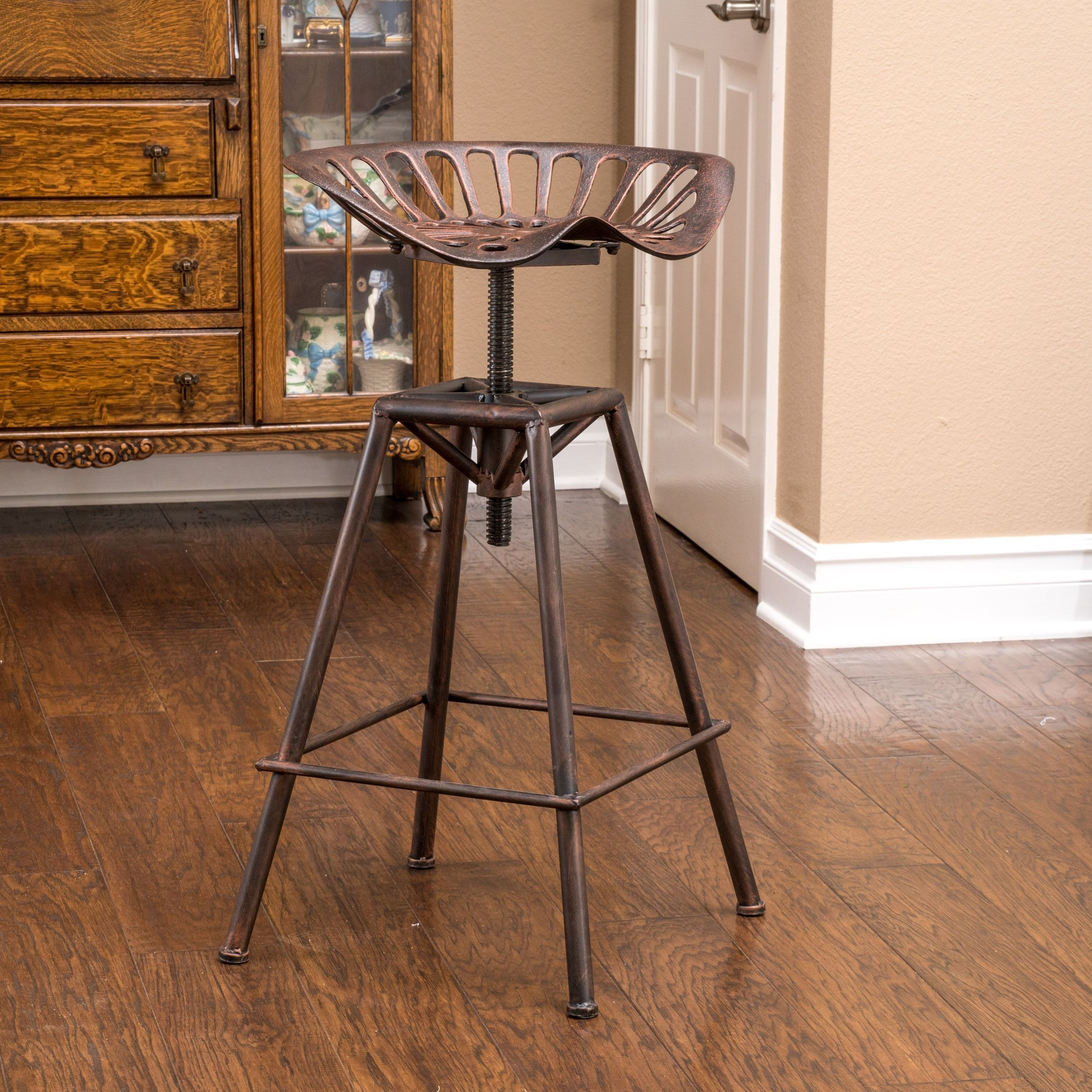 Chapman 28 Inch Iron Saddle Copper Barstool By Christopher Knight