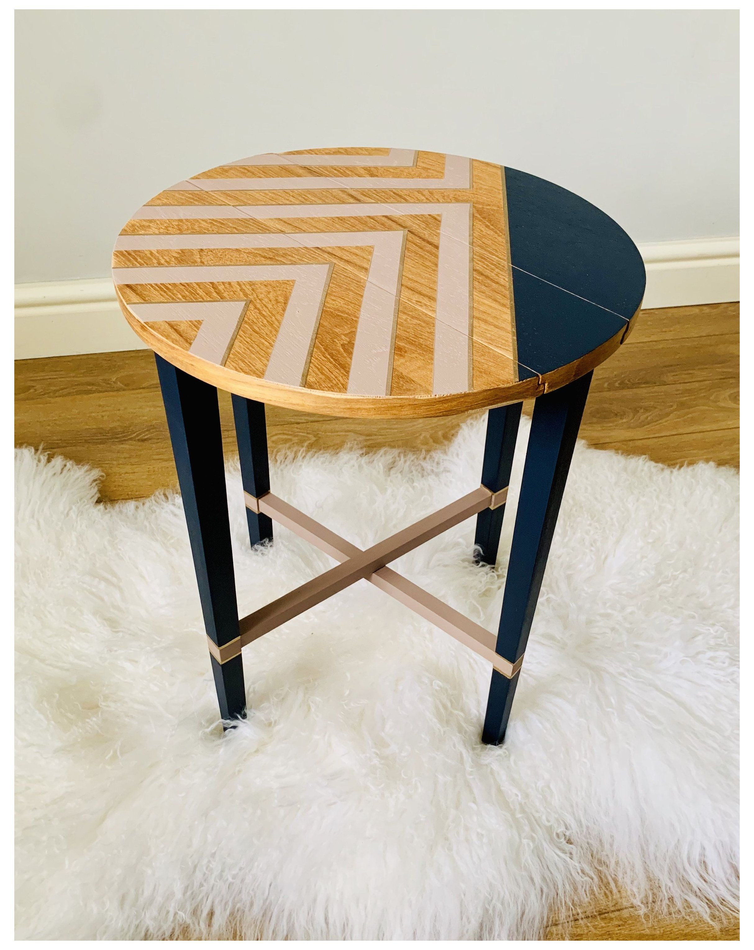 Mid Century Side Table Coffee End Table Bedside Tables Lamp Table Painted Retro Geometric Pattern Fold Painted Coffee Tables Painted Table Coffee Table Upcycle [ jpg ]