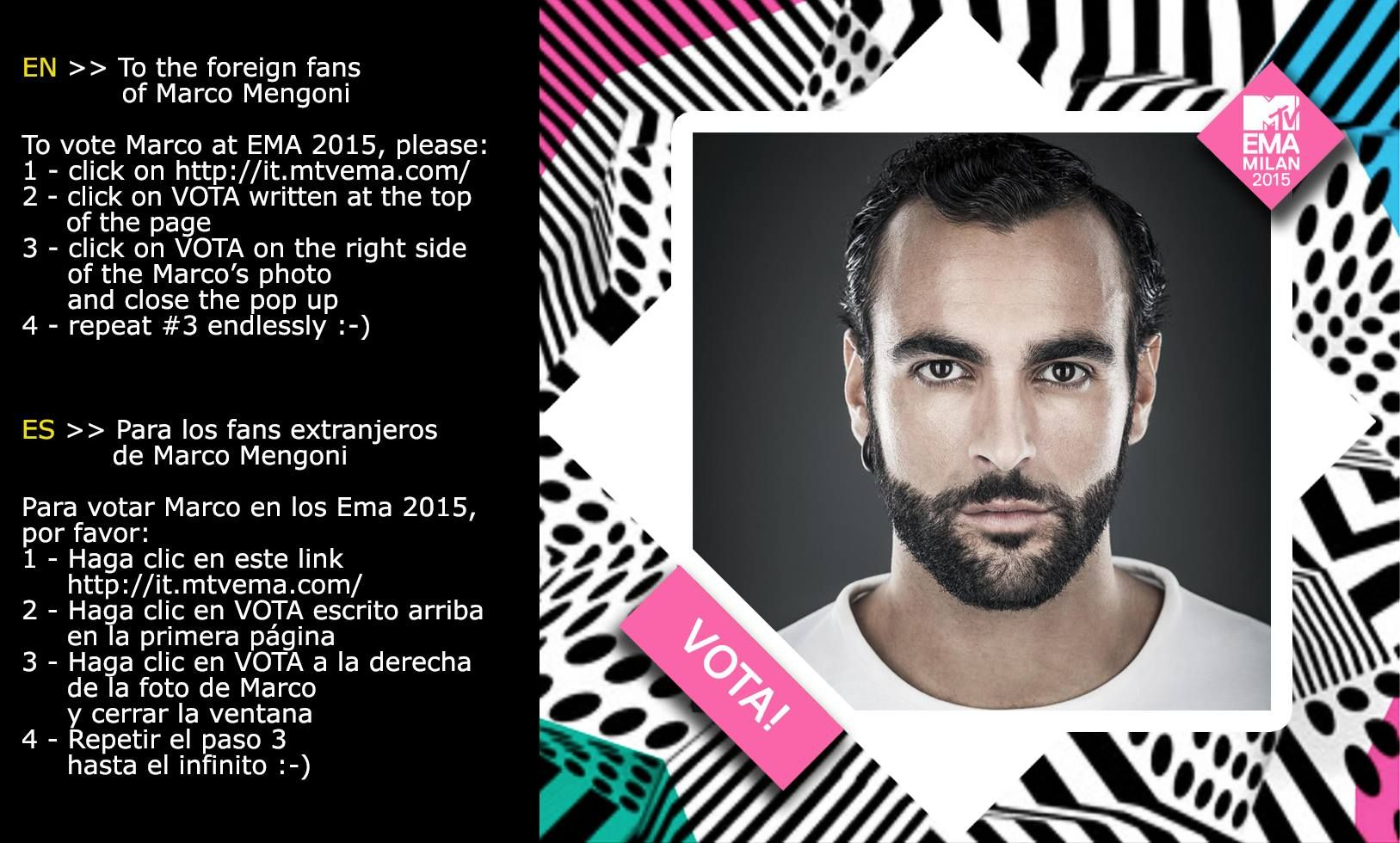 How to vote/Cómo votar For foreign fans of Marco Mengoni Para los fans extranjeros de Marco Mengoni