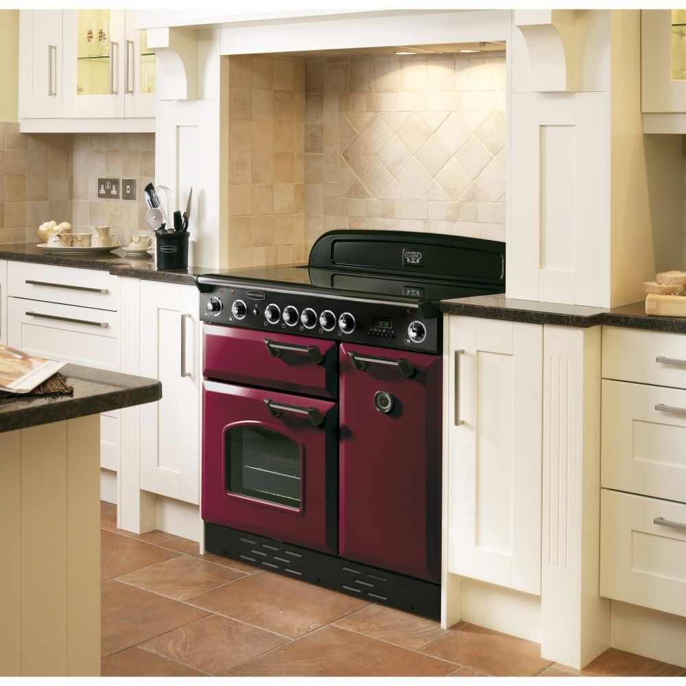 Classic 90 Ceramic Range Cooker In Cranberry With Brass Trim Range Cooker Kitchen