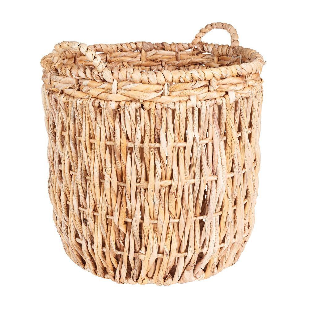 Light Brown Household Essentials ML-6649 Tall Round Floor Storage Basket with Handles
