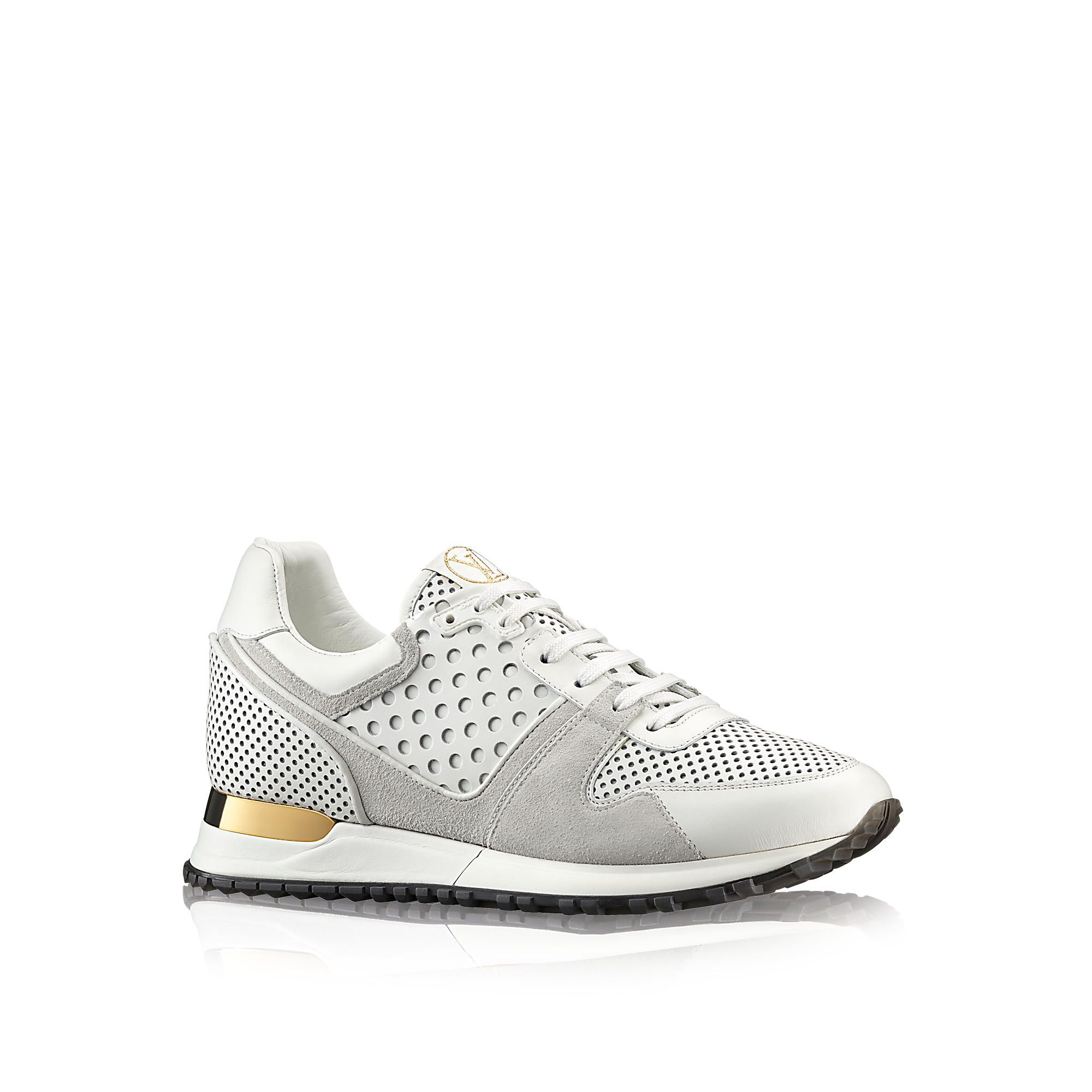 Discover Louis Vuitton Run Away Sneaker: This eye-catching sneaker combines  an authentic running shoe design with an upper in perforated calf leather.