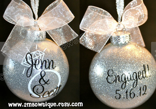 Christmas Gifts for the Engaged Couple: Personalized Glitter Engagement  Tree Ornament by 2M Bowtique @ Etsy #GlitterOrnaments - Christmas Gifts For The Engaged Couple: Personalized Glitter