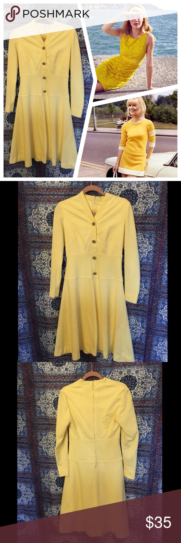 """🌞Vintage🌞 Mod Yellow Dress This is a super adorable yellow vintage mod dress. The buttons on the front are original-metal and enamel. The dress is a thick knit material and has a back zipper. Gorgeous a-line shape with sleeves. The dress is lined including the skirt. Bust fits up to 36"""" and waist fits up to 31"""". Would fit a size 6 to 8. Let me know if you have any questions! Vintage Dresses Long Sleeve"""