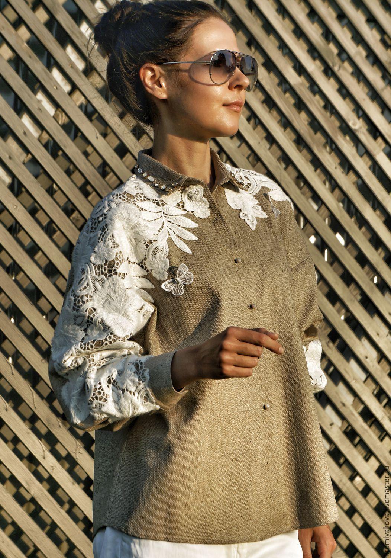 013ac62786480dc Дизайнерская рубашка, декорированная хлопковым кружевом – купить или  заказать в интернет-магазине на Ярмарке