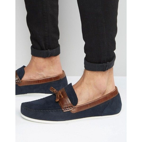 Shop Red Tape Loafers In Navy Suede at ASOS.