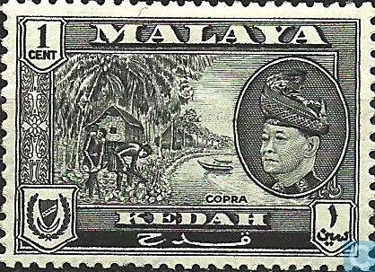 Kedah (Malay States) - Sultan Badlishah with national motives 1957