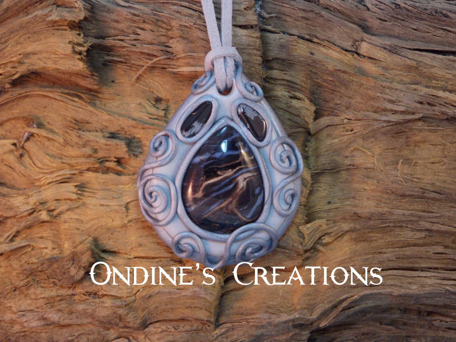Ondines Creations Clay Pendant   Petrified Palm Wood Agate, Snowflake Obsidian Crystal Mineral Healing Stone Hand Crafted Pendant  #152 by OndinesCreations on Etsy