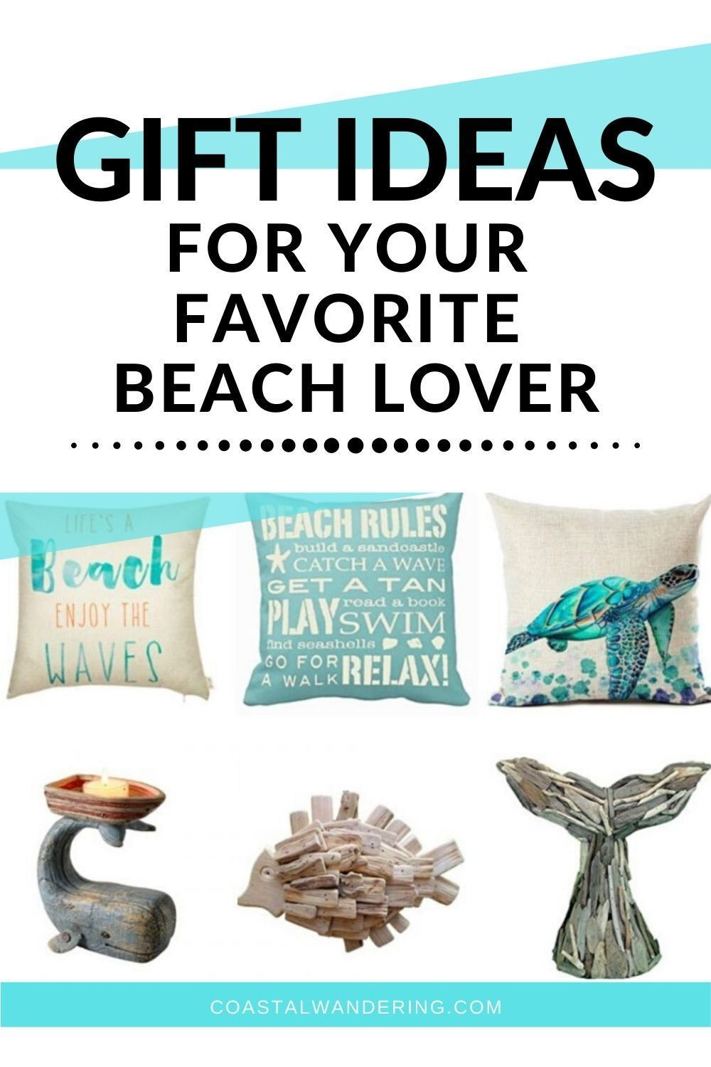 Do you know someone who loves the beach? These beach-inspired gifts will have them dreaming of their last beach vacation! From wall art to throw pillows to lanterns and candles, this gift guide has so many beach inspired gifts to bring the seashore home. There are even nautical decor and coastal gifts that can be used on the porch, patio, or deck. #travelgiftguide #nauticaldecor #beachlover