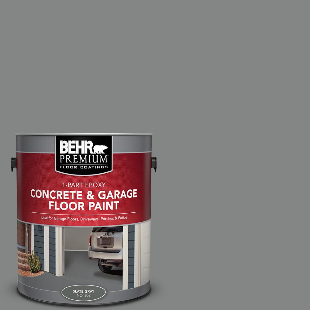 Behr Premium 1 Gal 902 Slate Gray 1 Part Epoxy Satin Interior Exterior Concrete And Garage Floor Paint 90201 Garage Floor Paint Exterior Paint Painted Floors