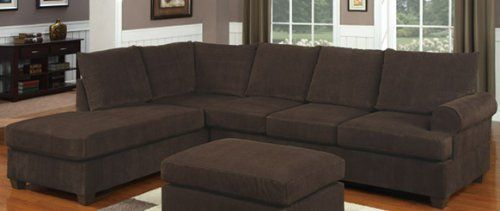 Incredible Poundex F7135 Chocolate Corduroy Microfiber Fabric Sectional Pdpeps Interior Chair Design Pdpepsorg