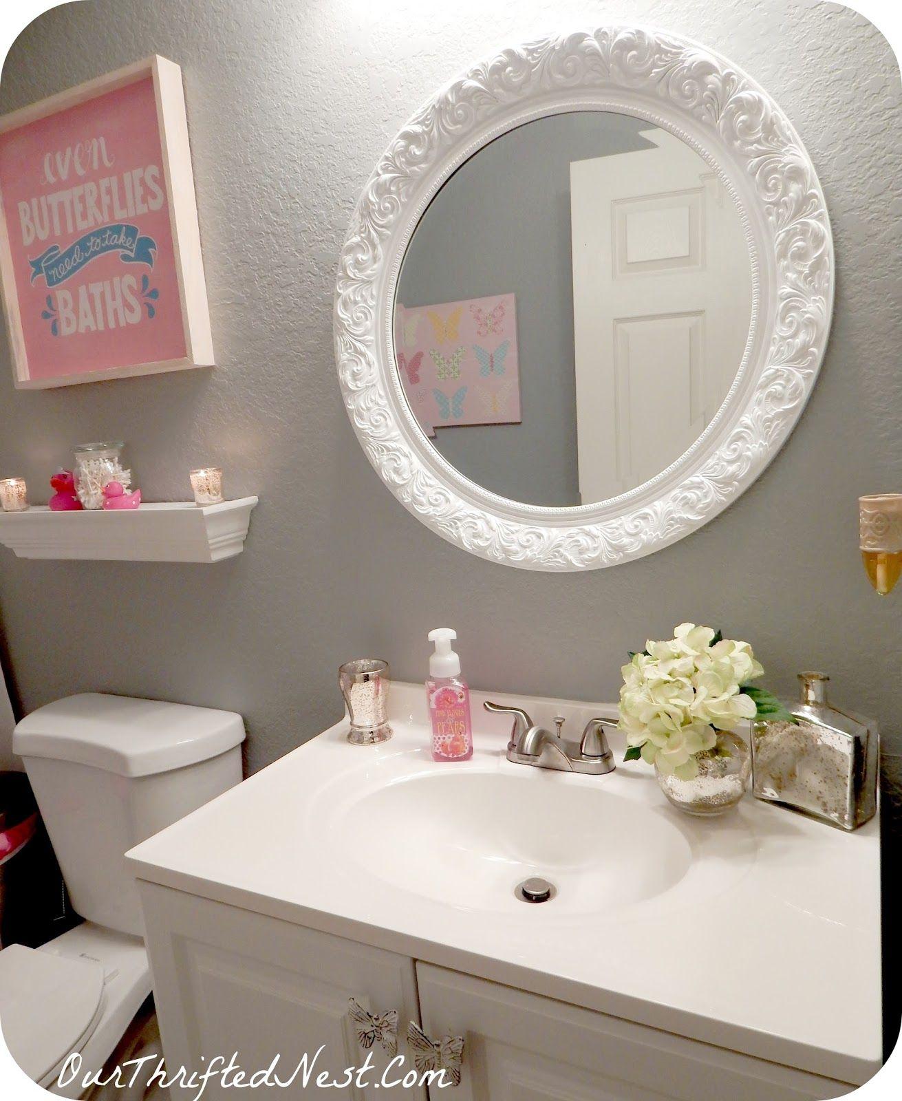 Best Wall Paint For Bathroom: Bathroom Decor: White Vintage Round Wall Mirror, Valspar