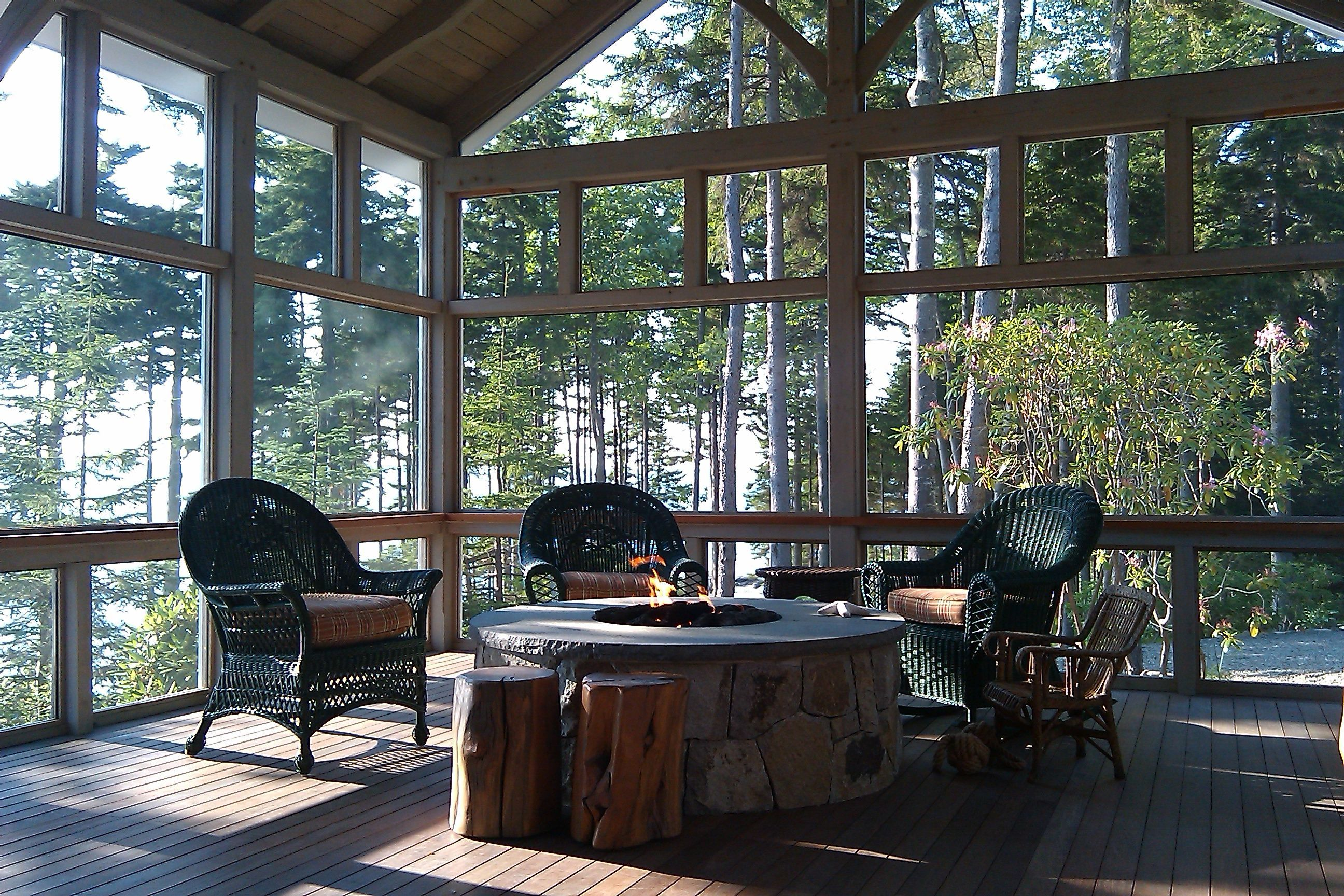 Renovation In Southport Maine Included A Screened Porch With Gas Fire Pit Knickerbocker Group Architect Knickerb Fire Pit Screen Gas Firepit Screened Porch