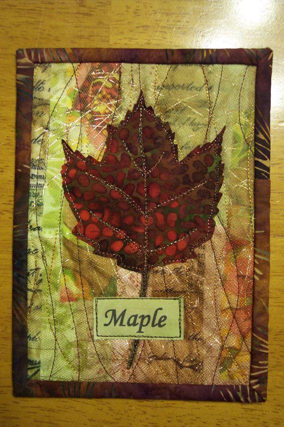 """Maple Leaf Art Quilt, Fiber Collage, Appliqued Maple Leaf Quilt, displays on 5 x 7"""" easel picture frame"""
