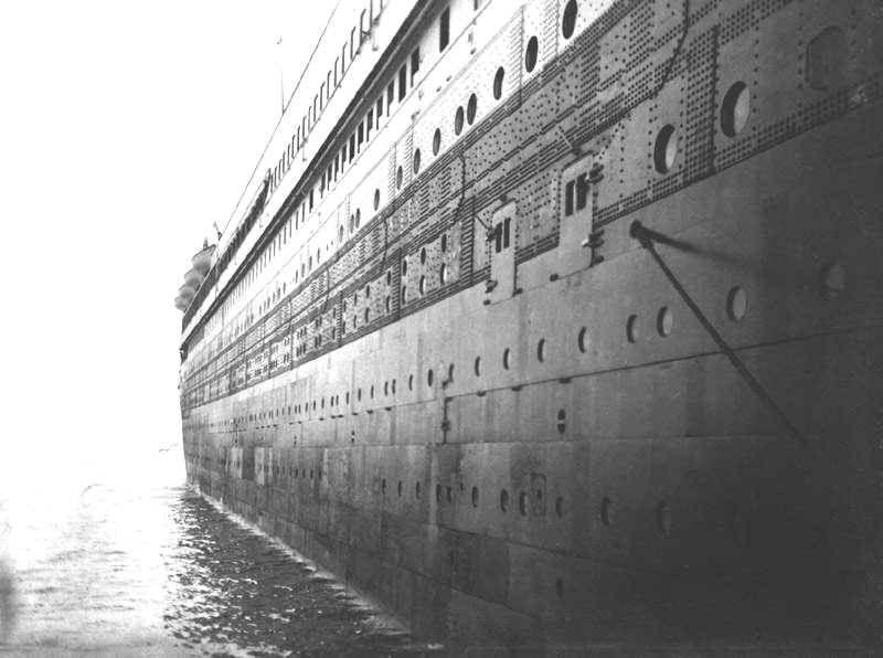 titanic's hull plating & pothole windows- close to where the iceberg damaged  ended