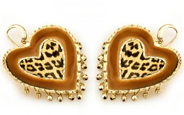 "Luxusné zlaté náušnice ""hearts of leopard"" leopardie srdcia"
