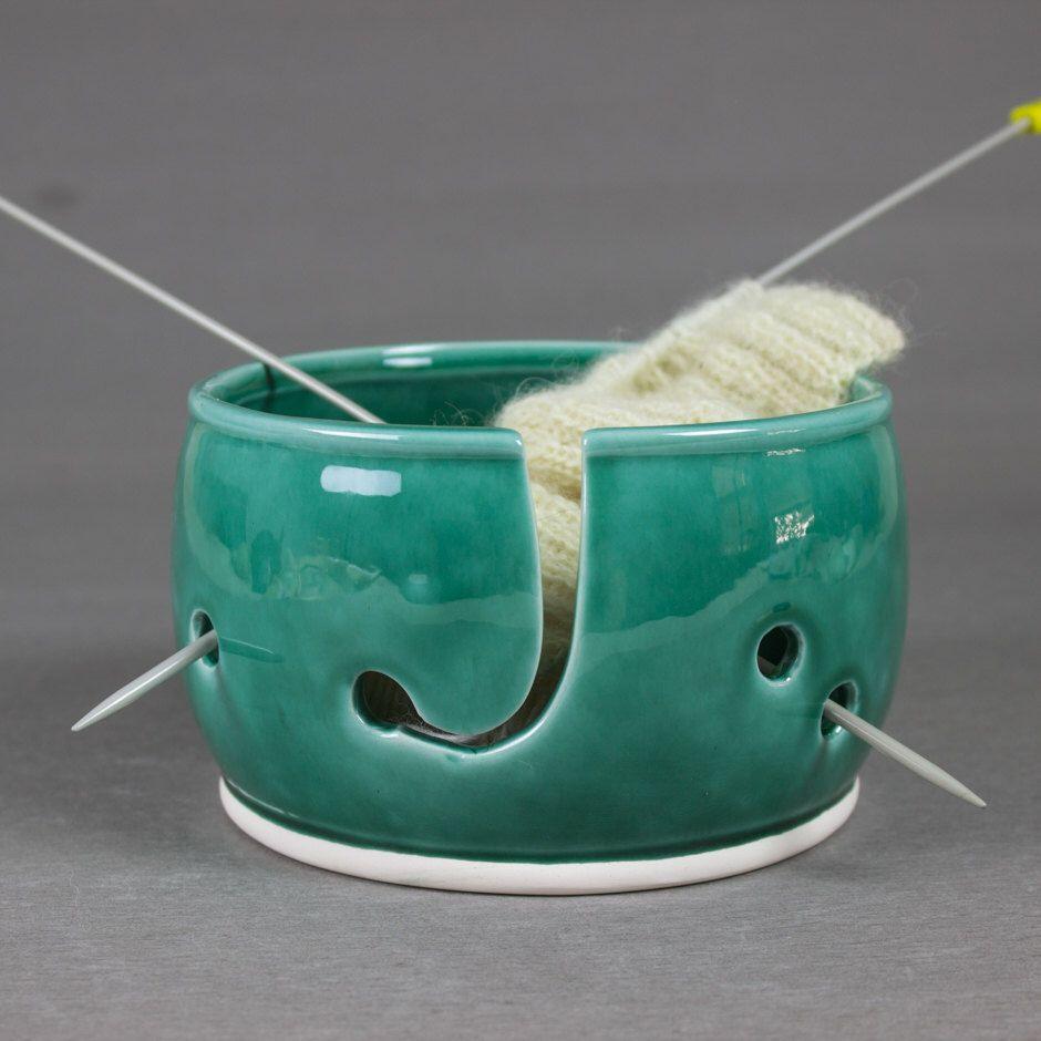 Knitting yarn bowl mermaid tail mint green blue eggplant
