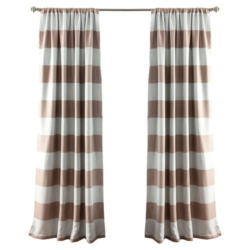 Stripe Blackout Rod Pocket Curtain Panel in Taupe
