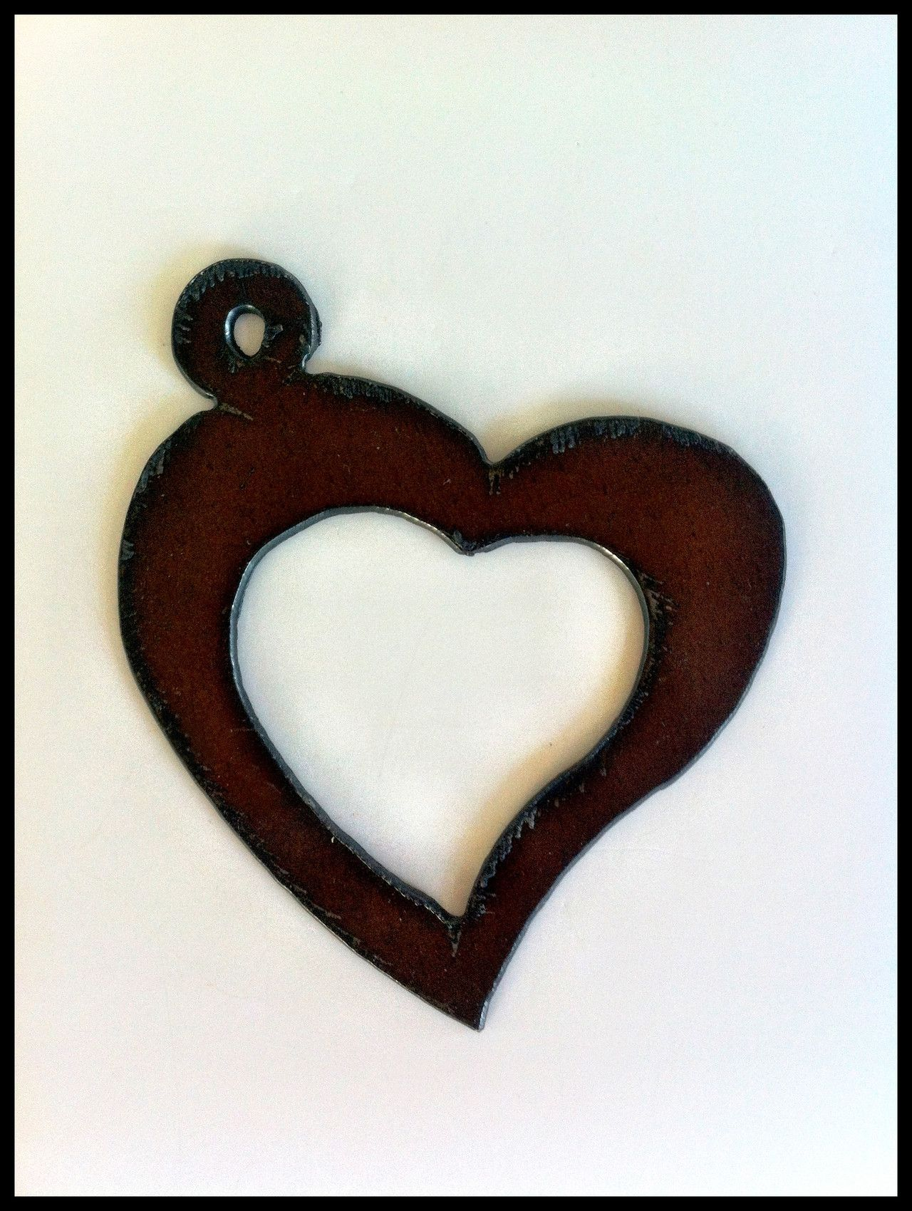Metal heart ornaments -  Rustic Recycled Metal Heart Sweetheart Large Pendant Charm