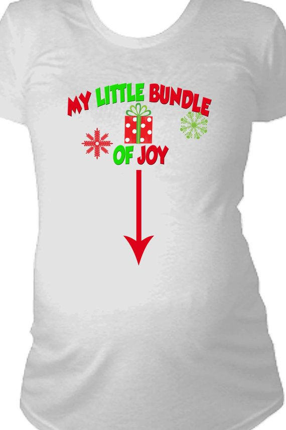 My little bundle of joy christmas maternity shirt long for Funny christmas maternity t shirts