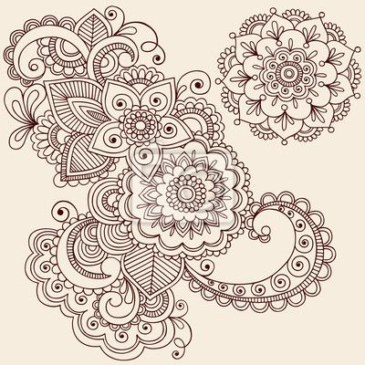 Henna Tattoo Abstract Paisley Flower Doodles Vector Wall Mural ...