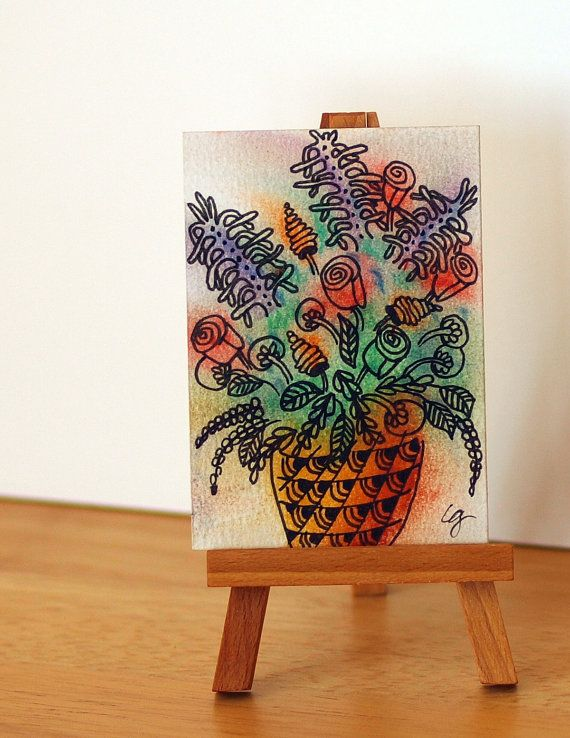 FLOWER VASE Still Life Bouquet ACEO Flowers in by MyHumbleJumble, $6.00