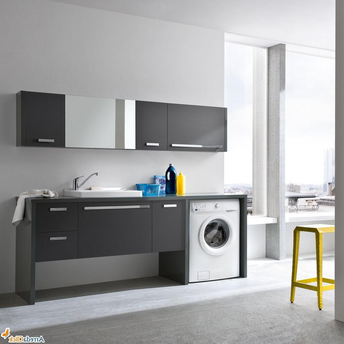 Rustic laundry room design with dark wooden vanity beside for Modern laundry ideas