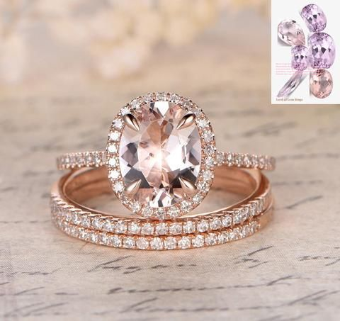 Oval Morganite Engagement Ring Pave Diamond Wedding 3 Rings Sets 14K