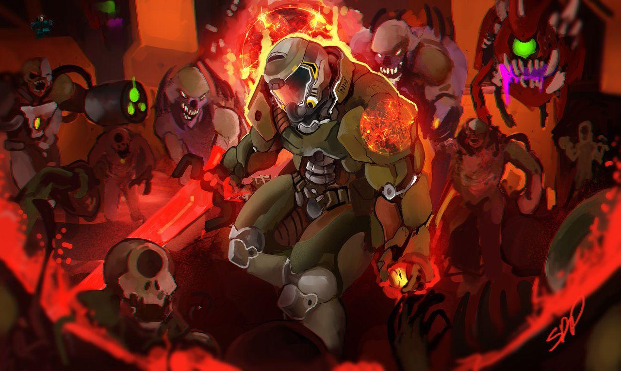 Картинки по запросу doom slayer face Arte conceitual