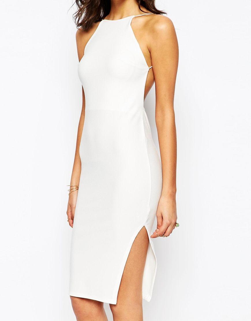 Boohoo White Crepe Bodycon Midi Dress Love A Back Detail Http Asos Do Vbt2yz Vegas Dresses Midi Dress Bodycon Pretty Outfits [ 1110 x 870 Pixel ]