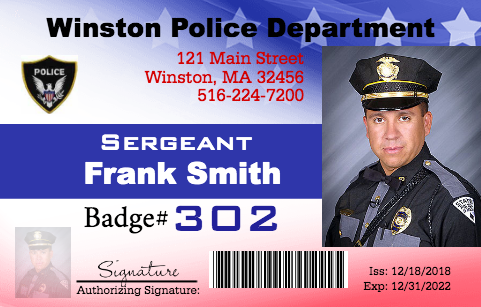 Police Officer Id Customize In 3 Minutes Volume Discount Custom Plastic Credit Card Size High Quality No Id Card Template Employee Id Card Police
