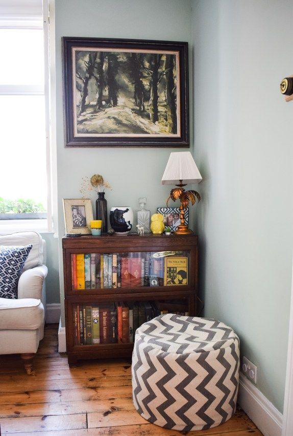 Eclectic Modern Bohemian Vintage Interior Decor Farrow Ball Teresau0027s Green  Globe Wernicke Palm Tree Lamp · Living Room ...