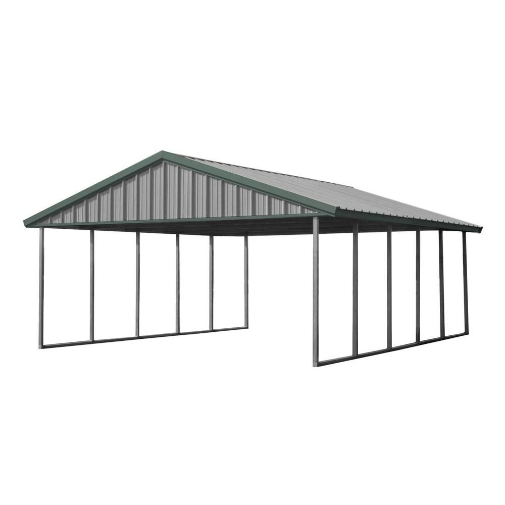 Pws Premium Canopy 20 Ft X 24 Ft Light Stone And Patina Green All Steel Carport Structure With Durable Galvanized Frame S 2024 Pg The Home Depot Steel Carports All Steel Carports Metal Carports