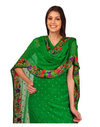 Emerald Green Eporess Parsi Gara Hand Embroidered Pure Crepe Suit