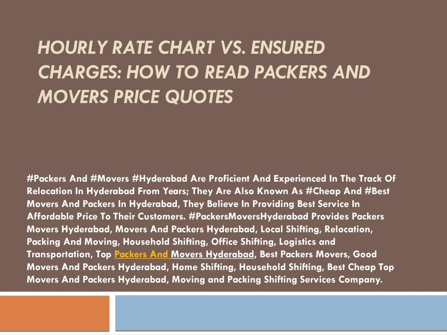 Movers Quote Hourly Rate Chart Vs Ensured Charges How To Read Packers And