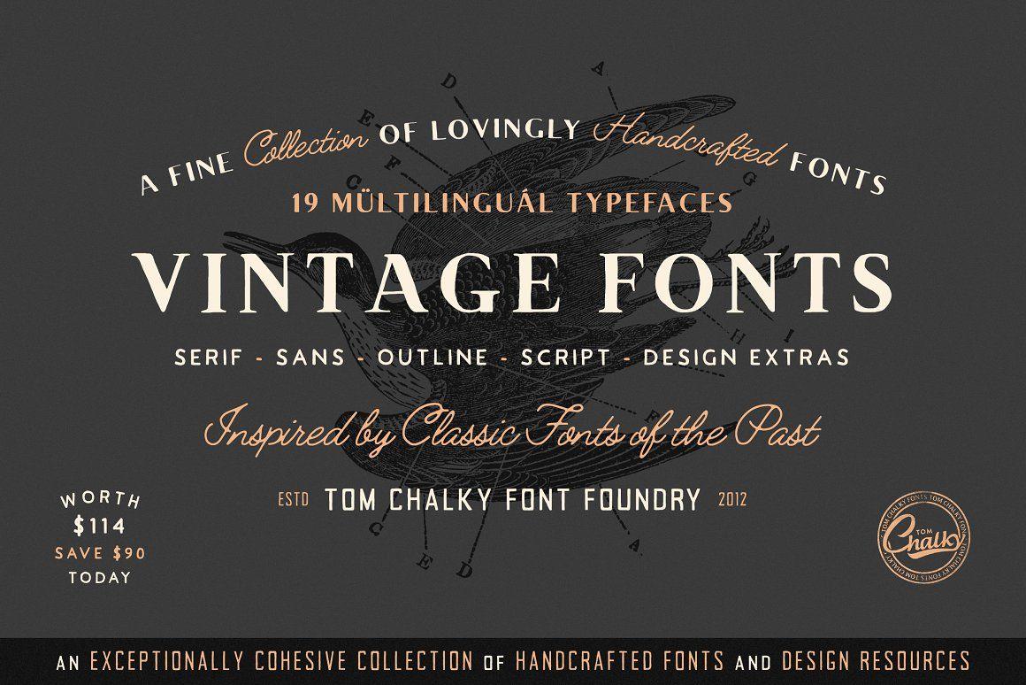 19 Vintage Fonts Bundle Extras Vintage Fonts Font Packs Font Bundles